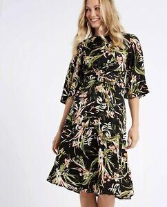 M&S Collection Ladies 10 Midi Dress Black Floral Skater Jacquard 3/4 Sleeve NEW