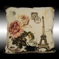 "SHABBY CHIC ROSES PARIS EIFFEL TOWER DECO THROW PILLOW CASE CUSHION COVER 17"""