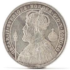 2 Kronor Oskar II Silber Münze Schweden 1927 Silver coin Sweden Silver Jubilee