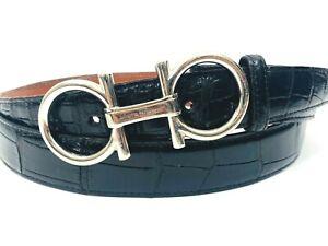 Authentic Salvatore Ferragamo Belt Buckle & Sz 40 Genuine Alligator Strap Black
