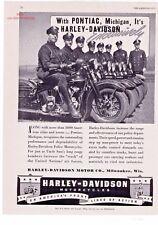 "1940's Vintage Harley Davidson Police Motorcycles ""Pontiac, Michigan"" Print Ad"