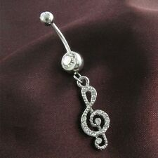 Treble Clef Music Musical Note Dangle Belly Button Naval Ring Body Fashion Jewel