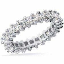 2.60 ct Princess cut Diamond Ring 18k Gold Eternity Band F VS Sz 6 0.10 ct each