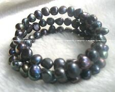3 rows 7.5-8.5mm black freshwater pearl bracelet  wholesale beads nature gift