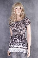 New Sheer Blouse Dress Top Size 10 12 14 16 Lace Trim Diff Colours Prints Ladies