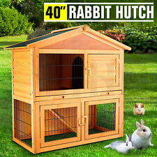"""40"""" Wooden Rabbit Hutch Chicken Coop Cage Hen House Pet Poultry Animal Backyard"""