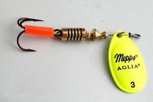 1 x leurre MEPPS cuillere AGLIA FLUO CHARTREUSE lure spinner trout perch truite