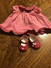 American Girl Bitty Baby 2002 Sweetheart Valentine Dress & Shoes Only EUC