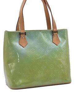 Authentic Louis Vuitton Vernis Houston Shoulder Bag M91005 Light Green LV D4223
