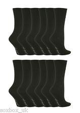 12 Pairs Ladies GG67 Gentle Grip Socks Size 4-8 Uk Plain Black
