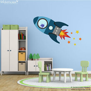 Flying rocket wall sticker   Space themed wall stickers by Stickerscape