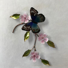 Blue Beauty Butterfly With Cherry Blossoms Metal Wall Art Sculpture by Bovano