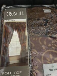 Croscill Galleria  Lined Panels & Tiebacks Pole Top Drapery 84L