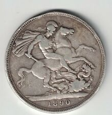 GREAT BRITAIN 1890 CROWN QUEEN VICTORIA STERLING SILVER COIN .8409oz