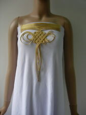 MR212 Gold Metallic Cord Braided Loopy Front-Neck Motif Sew On Fashion/Design