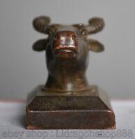 4CM Chine Antique Vieux Bronze Dynastie Animal Bovins Bœuf Impérial Sceau Timbre