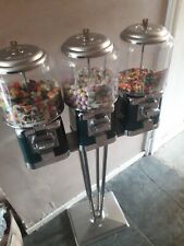 More details for 3 head beaver sweet vending machine in green & chrome on genuine stand.