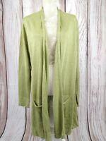 Ladies ORVIS Pure Linen Light Green Longline Open Waterfall Cardigan Size Large