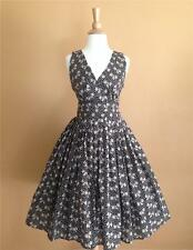 50s Vtg Style Twirl Bows and Polkadots Pinup Swing Dress Small