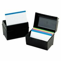 Oxford Index Card Flip Top File Box, Holds 5 x 8 Cards, Matte Black (OXF01581)