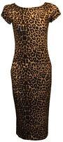 Women's Ladies Bodycon Midi Dress Camouflage Bang Print Cap Sleeve  Size UK 8-22