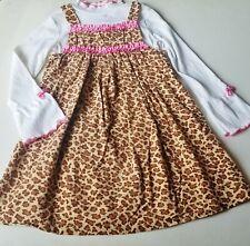 Girls BONNIE JEAN leopard jumper white t shirt dress outfit 6 6x ruffles pink