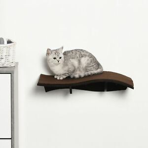 Wall Mounted Cat Shelf Perch Kitten Bed w/ Removable Carpet Accessories