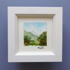 "Framed Original Miniature Watercolour ""Flat Mountain"" Daintree,North Queensland"
