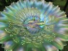 Northwood PEACOCKS ANTIQUE CARNIVAL ART GLASS PCE BOWL~ICE GREEN~SPECTACULAR!