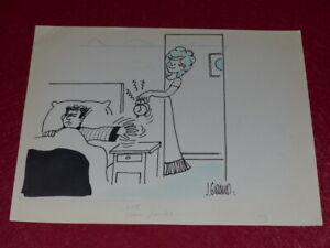 [BD DESSIN HUMOUR PRESSE] J. GIRAUD - DESSIN ORIGINAL SIGNE Reveil matin