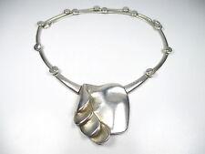 Lapponia Designer Collier 925 Sterling Silber Kette Finnland 70er Modernist aN1