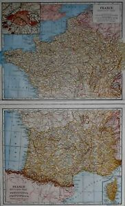 Antique 1923 Atlas Map Post WWI France (2 Pages), Germany & Eastern Asia L@@K!