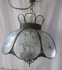 Vtg 4 light swag hanging chandelier tulip shape glass light Roses