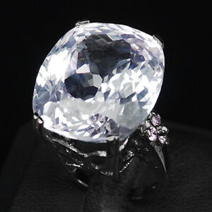 Kunzite Pink Antique 50.70 Ct. 925 Sterling Silver Black Ring Size 6.5 Jewelry