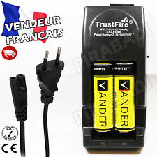 2 PILES ACCUS RECHARGEABLE 18650 3.7V 6000mAh + CHARGEUR TR-001 TRUSTFIRE RAPIDE