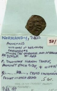 NORMANDY DUKES MEDIEVAL .5Gr. COIN!!!!..STARTS@ 2.99