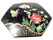 Antique Victorian poppy butterfly hand painted jet black glass jewelry element