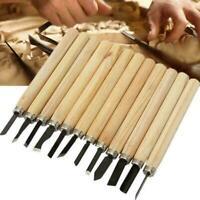 12pcs/Set Woodworking Tools Wood Carving Hand Chisel Gouges 65 R3I4 AU C3I9