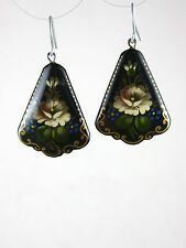 Russian Hand-Painted Black Earrings with White Flowers 5128WITE