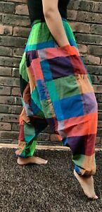 Trouser multicolored baggy unisex handmade colorful Durable Cotton comfy pants.