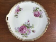 """Vintage OHME Silesia Pink Roses Cake Serving Plate Hermann Germany 10"""""""