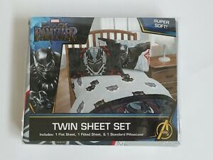 Marvel Black Panther 3 Piece Twin Sheet Set Kids Boys Girl New