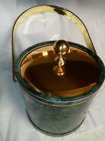 """Vintage Kraftware Ice Bucket W/Faux Green Marble Pattern  & Brass Lid 10"""" Tall"""