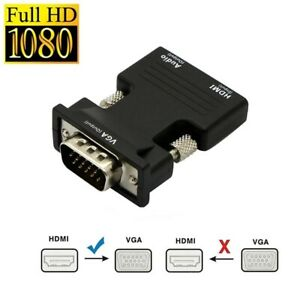 HDMI INPUT to VGA OUTPUT Converter Adapter Sound Audio for PC DVD TV Monitor UK