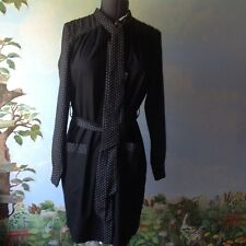 Love Moschino Dress Black Long Sleeve Pockets Dress Pearl Buttons Size 8 New