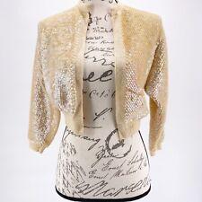 STunning SEQUIN SHRUG BOLERO SWEATER Jacket Beige Yellow Clear Sequin Iridescent