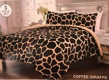 GIRAFFE ANIMAL PRINT BLANKET WITH SHERPA VERY SOFTY THICK AND WARM 3 PCS QUEEN