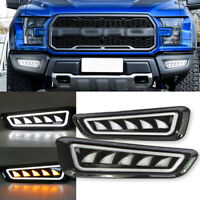 For Ford F-150 Raptor fit 2017 2018 2019 LED DRL w/ Turn Signal Fog Light Bezels