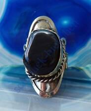 Ring Alpaka Silber Stein Achat dunkelgrau Ethno Indianer Stil 032