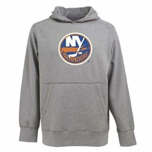 NWT Mens New York Islanders Signature Hood Applique Gray Pullover Sweatshirt 2XL